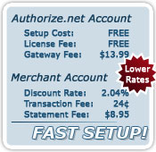 FreeAuthNet Rates