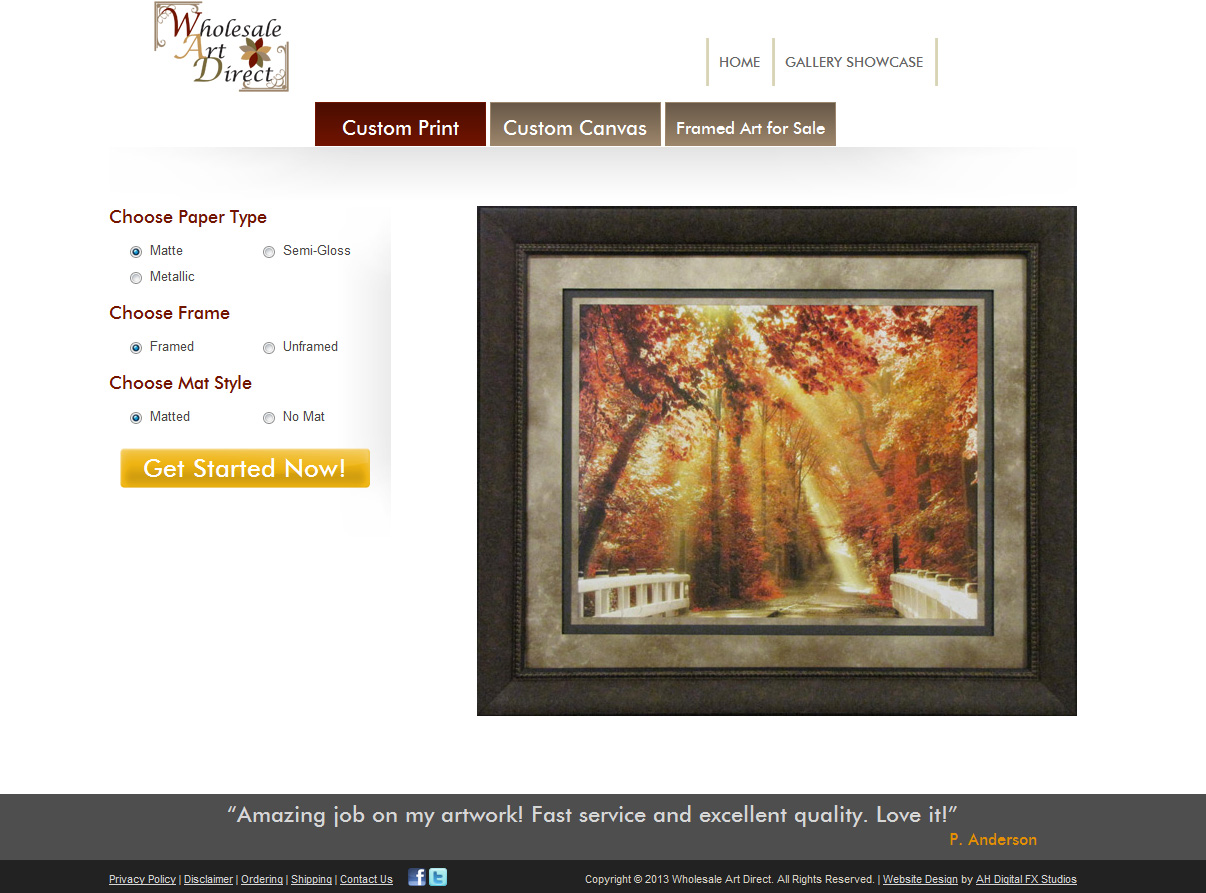 Wholesale Art Direct :: Custom Printing, Matting, and Framing :: http://www.wholesaleartdirect.com